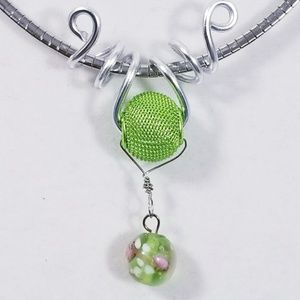 Aluminum Silver Spiral Pendant Green Wire Bead